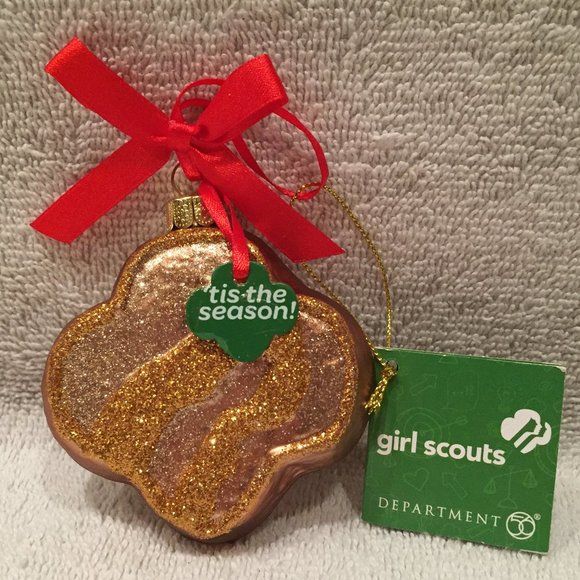 NWT Girl Scouts Shortbread Cookie Ornament, Glass